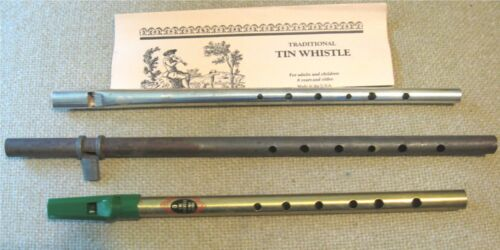 Vintage IRISH TIN PENNY WHISTLE +1 and Antique TIN MELODY FLUTE / FIFE