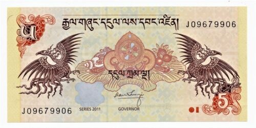 Bhutan 5 Ngultrum Banknote 2011 as pictured