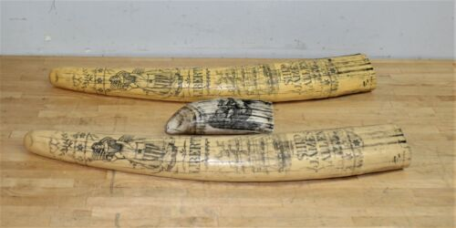 """Lot of 2 Resin Faux Scrimshaw Walrus Tusks W/ """"1830 James Allen"""" & 1 Whale Tooth"""