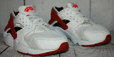 Nike Huarache Run GS Youth Size 4.5Y  White Red Black (654275-102) Sneakers