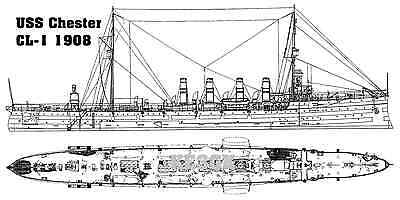 Uss Chester Cl 1 1908 13 X 19 Matte B Amp W Line Drawing Print