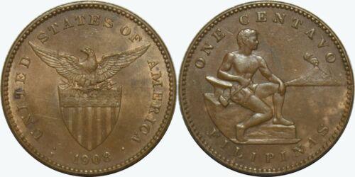 1908-S US/Philippines 1 Centavo ~ Ch. AU ~ Allen#2.06 ~ MX440
