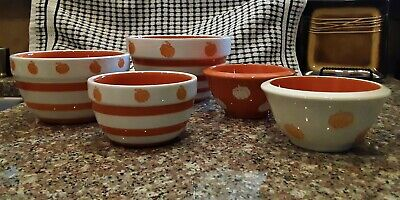 Thanksgiving / Pumpkin Orange Stripe Terramoto Ceramic Nesting Bowls Set of 5