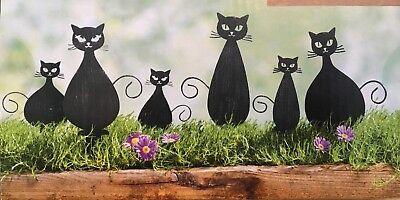 Gartenstecker 6 Katzen NEU aus Metall in schwarz bis 13 cm gross Blumenstecker