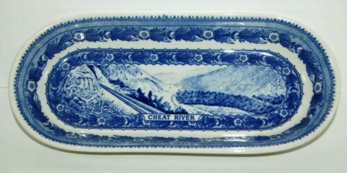 BALTIMORE AND OHIO RAILROAD CHINA DINING CAR OVAL CELERY DISH - CHEAT RIVER
