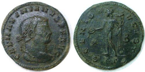 305-311 AD Roman Imperial Galerius Genius Thessalonica Bronze AE1 Follis