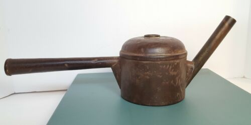 Antique Miners Oil Wick Teapot Hand Lamp Torch Long Handle