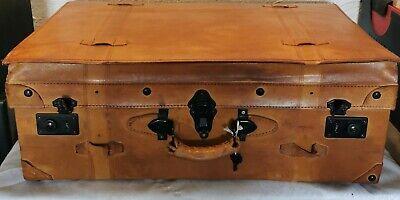 Design Deckelfalten Leder-Koffer Oldtimer Reisekoffer  Cognac Vintage