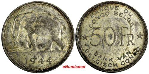 Belgian Congo Léopold III Silver 1944 50 Francs Elephant 1 YEAR TYPE SCARCE KM27