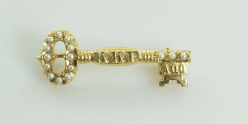 Vintage Alpha Alpha Gamma Key Pin / Brooch in 10k Yellow Gold with Pearls