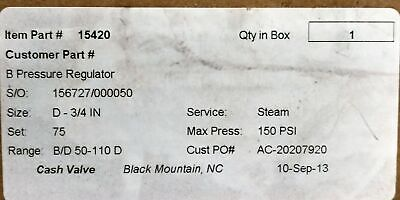 Cash Valve 15420 Steam Pressure Regulator