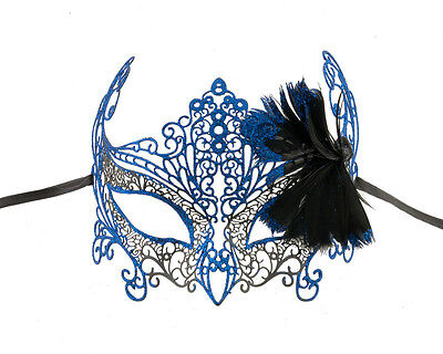 Mask from Venice Butterfly Lace Metal Blue King Glossy Grade a Feathers 727