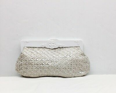 MAC Makeup Cosmetic Clutch Bag Antique Style White Frame Woven Silver Fabric  for sale  Shipping to India