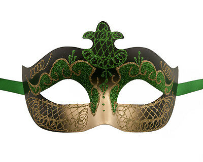 Mask Venetian Colombine Green and Gold Party Evening 1st Price 1277 V75