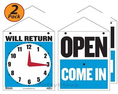2 Pack - Will Return Clock Sign W Open Sign On Back 7.5 X 9 - Fast Free Ship