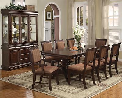 Dining Room Set Side Table - NEW MERLOT 7PC FORMAL WOOD DINING ROOM SET TABLE , 4 SIDE CHAIRS & 2 ARM CHAIRS