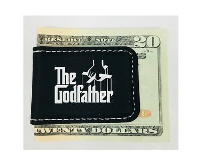 Personalized Engraved Money Clip Godfather Inspired Magnetic Black Leatherette Black Leatherette Money Clip