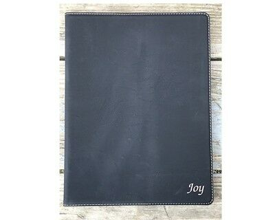 Personalized Portfolio Black Leatherette Engraved Free Padfolio Journal Note Pad