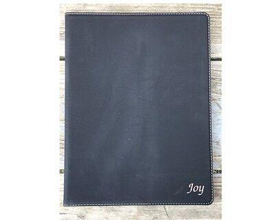 Personalized Portfolio Black Leatherette Padfolio Journal Note Pad Holder