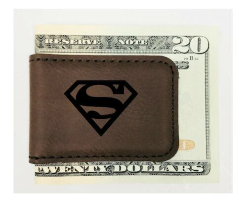 Personalized Engraved Money Clip Superman Inspired Magnetic Brown Leatherette