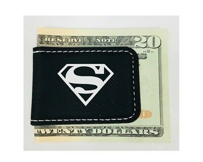 Personalized Engraved Money Clip Superman Inspired Magnetic Black Leatherette Black Leatherette Money Clip