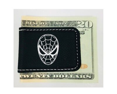 Personalized Engraved Money Clip Spiderman Inspired Magnetic Black Leatherette Black Leatherette Money Clip