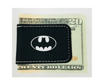 Personalized Engraved Money Clip Batman Inspired Magnetic Black Leatherette Black Leatherette Money Clip