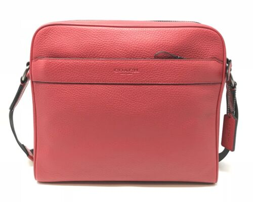 Coach Men's Charles Camera Crossbody Bag In True Red Leather