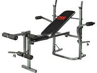Pro Fitness Multi-use Workout Bench and Fly with dumbbells and barbell with weights