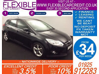 2014 FORD FOCUS 1.6 TDCI TITANIUM X NAVIGATOR GOOD / BAD CREDIT CAR FINANCE FROM 34 P/WK