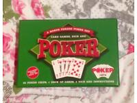 BOXED POKER GIFT SET. CARDS, CHIPS, DICE AND INSTRUCTIONS. NORTH PARADE.