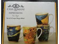 Casa Domani Impressions Set of 4 Mugs, Van Gogh. (New & Boxed) Perfect Gift Idea