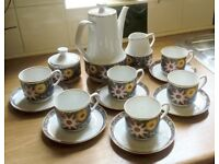 Vintage Retro 1970's 15 Piece Coffee set 'Colourful Flowers' by CHODZIEZ Poland