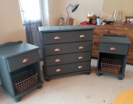 Bedroom set, chest of drawers and matching bedside tables, grey with copper handles
