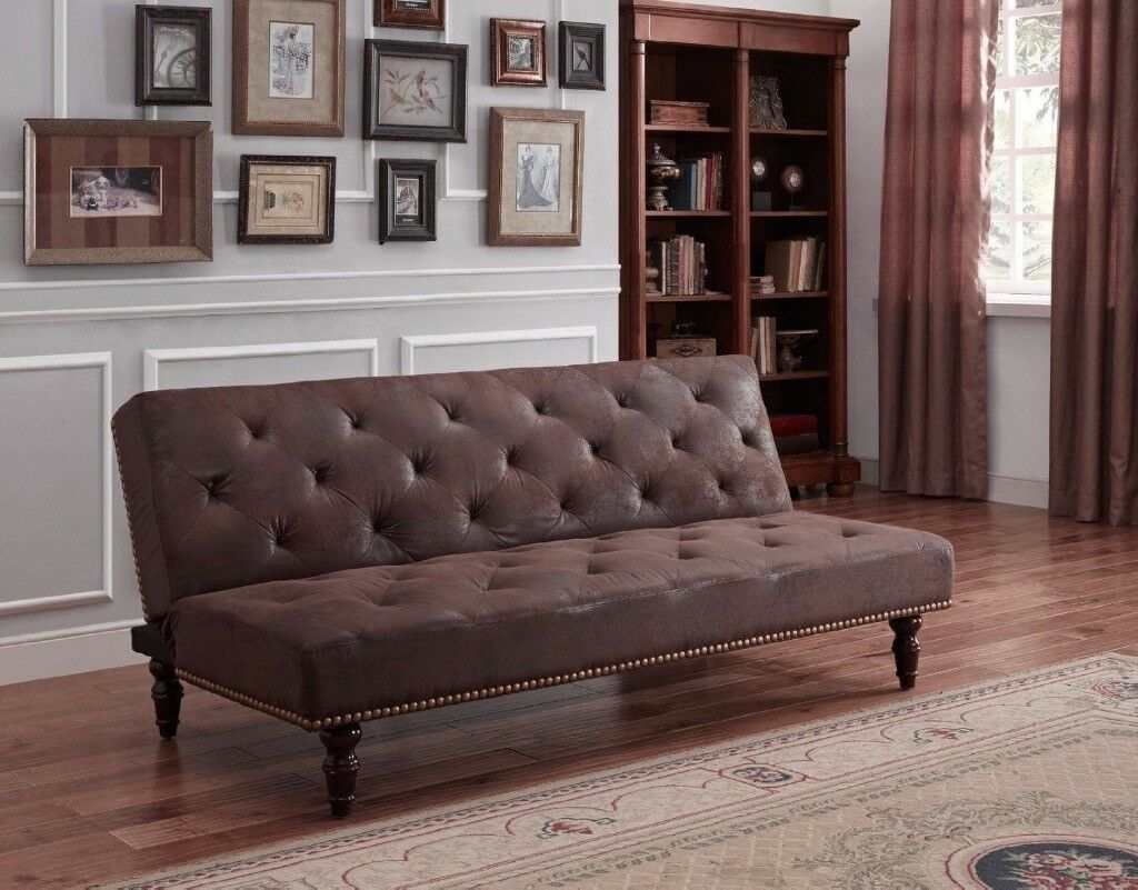 Vintage Brown Sofa Bed 3 Seater Sofabed Victorian Style Couch