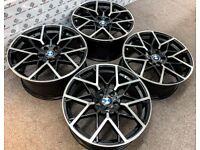 "BRAND NEW 20"" BMW M-PERFORMANCE v3 STYLE ALLOY WHEELS - 5 X 120 - GLOSS BLACK DIAMOND CUT FINISH"