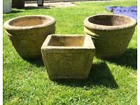 3x vintage molded concrete planters