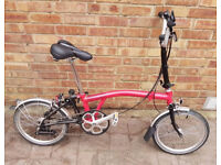 Brompton Red and Black Folding bike - With Flight Case