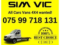 Cars and vans 4x4 wanted, Top price paid, The same day collection