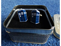 Doctor Who Tardis Cufflinks Official BBC, Mag Mouch, Mint Condition Original Tin