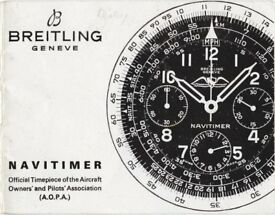 Breitling Navitimer Instruction Manual. Quality copy of original for vintage Chronograph.