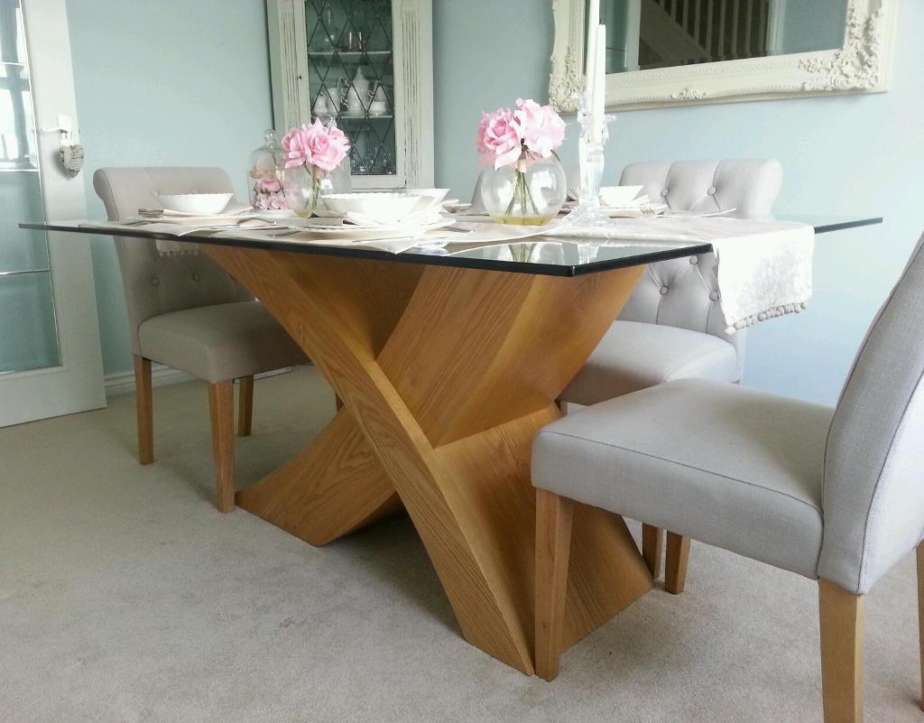 Glass top oak dining table | in Wrexham | Gumtree