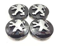 Peugeot Black Wheel Alloy Center Caps Set of 4 60 mm for 306,307,206,107,406,407