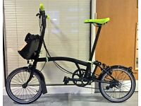 Immaculate Black Edition/Lime Brompton M6L - with Brompton Roll Top Bag - Brand New