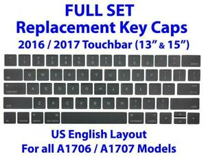Full Set Replacement Keyboard Caps for Apple Macbook Pro A1706 A1707 13 & 15 Touchbar US English Keycaps Keys Key Covers