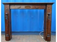 Reclaimed Solid Oak Wood, Carved Fire Surround with Central, Twin Light under Mantel Piece