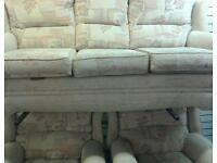 3 piece sofa & 2 reclining chairs