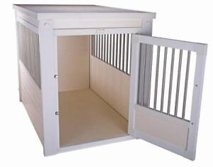New Age Pet EHHC404L ecoFLEX Dog Crate with Stainless Steel Spindles, Antique White, Largeby New Age Pet NEW
