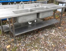 Stainless Steel Double bowl commercial sink. 2.4M long