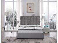 SAME DAY DROP - NEW STORAGE VELVET DOUBLE/KING PLUSH VELVET CHELSEA BED WITH OPT MATTRESSES